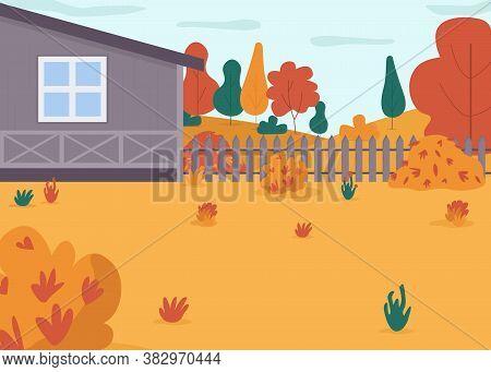 Autumn House Backyard Semi Flat Vector Illustration. Home Yard For Family Holiday Activity. Countrys