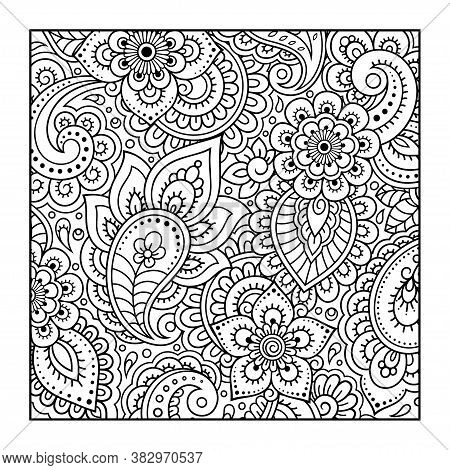 Outline Square Flower Pattern In Mehndi Style For Coloring Book Page. Antistress For Adults And Chil