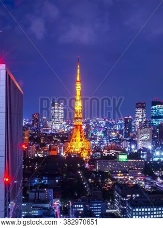 Night Light Cityscape View With Modern Building In Tokyo, Japan (public Scene From The Window)