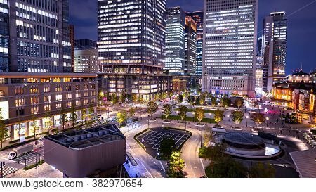 Night Light Cityscape Of Tokyo Building At Marunouchi District, Japan