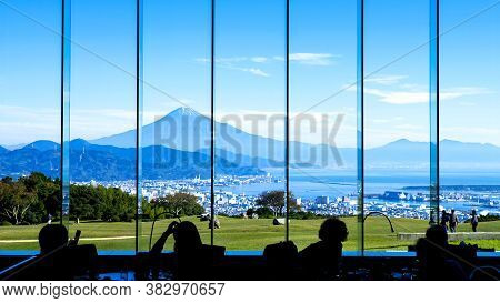 Silhouette View Of Mt. Fuji / Fuji Mountain And Shimizu Industrial Port From The Window In The Resta