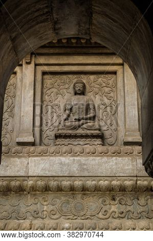Marble Wall Carving Of Buddha In Vajrasana Pagoda In Temple Of Azure Clouds (biyun Temple), Chinese