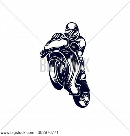 Motorcycle Racer Sport Logo Design Vector. Silhouette Of Motorcycle Racer. Template Illustration