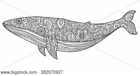 Whale Is A Marine Mammal Made A Floral Pattern With Oriental Ornaments. Hand Drawn Decorative Animal