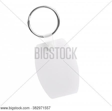 Mockup of white key holder with metal ring isolated on white background