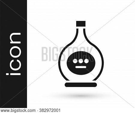 Grey Bottle Of Cognac Or Brandy Icon Isolated On White Background. Vector Illustration