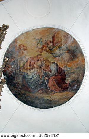 DAPCI, CROATIA - SEPTEMBER 22, 2013: The Mystic Marriage of Saint Catherine, fresco in the parish church of St. Catherine of Alexandria in Dapci, Croatia