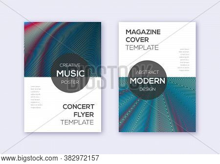 Modern Cover Design Template Set. Red White Blue Abstract Lines On Dark Background. Exquisite Cover
