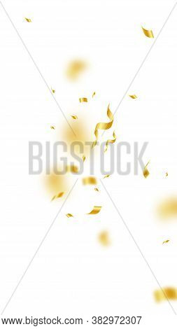 Streamers And Confetti. Gold Streamers Tinsel And Foil Ribbons. Confetti Explosion On White Backgrou