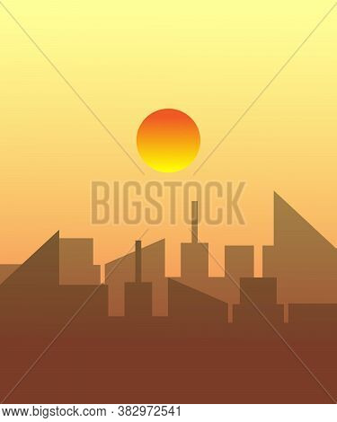 Sunset Background,sunset With City,vector Best Sunset Background.
