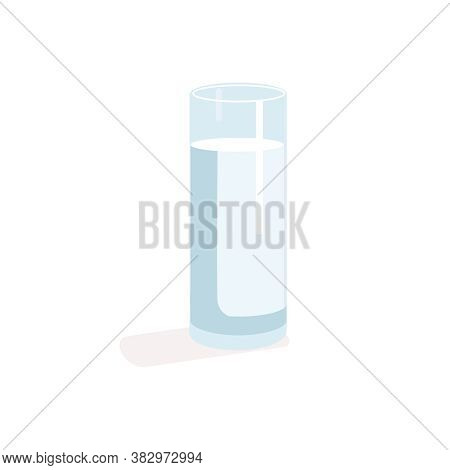 Transparent Glass Of Milk. Natural Fresh Dairy Product Design Flat Vector Illustration Isolated On W