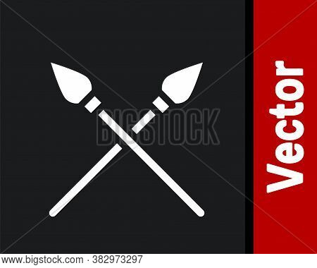 White Crossed Medieval Spears Icon Isolated On Black Background. Medieval Weapon. Vector