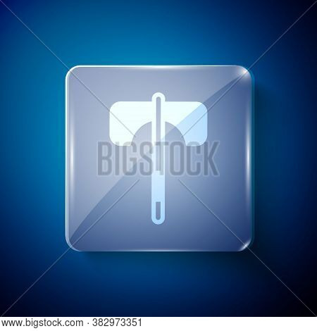 White Medieval Axe Icon Isolated On Blue Background. Battle Axe, Executioner Axe. Medieval Weapon. S