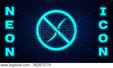 Glowing Neon Anti Worms Parasite Icon Isolated On Brick Wall Background. Vector