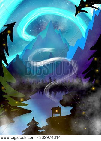 Mountain Landscape With Aurora Northern Borealis, Lake, Cosiness House And Forest Silhouette. Lansca
