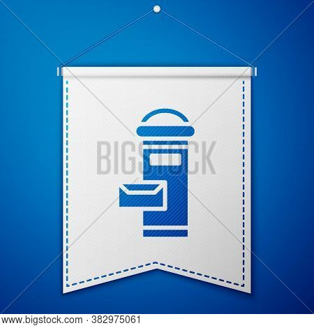 Blue Traditional London Mail Box Icon Isolated On Blue Background. England Mailbox Icon. Mail Postbo