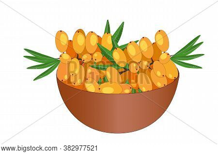 Bowl Of Delicious Juicy Sea Buckthorn Isolated On White Background. Big Pile Of Fresh Yellow Sea Buc
