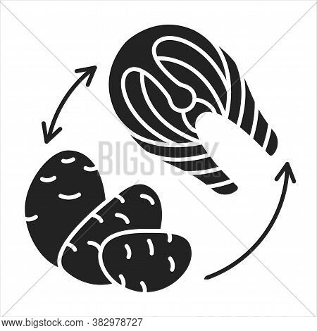 Cyclic Keto Diet Black Glyph Icon. Variation Of The Ketogenic Diet. Involves Eating Clean Carbohydra