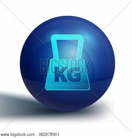 Blue Weight Icon Isolated On White Background. Kilogram Weight Block For Weight Lifting And Scale. M