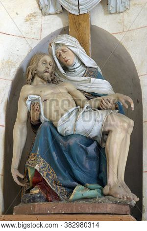 DESINIC, CROATIA - OCTOBER 18, 2013: Our Lady of Sorrows, a statue in the chapel of Saint Anne in Desinic, Croatia