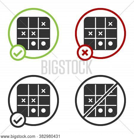Black Tic Tac Toe Game Icon Isolated On White Background. Circle Button. Vector