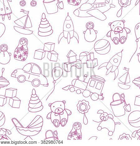 Cute Toys Seamless Pattern. Baby Girl Backdrop. Outline Elements Isolated On White Background. For B
