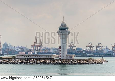 Colombo, Sri Lanka - November 25, 2019: View Of The Colombo Pilot Station Lighthouse In The Port Of