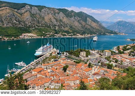 A View Down The Fjord At Kotor Bay, Beside The Old Town In Kotor, Montenegro