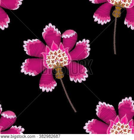 Embroidery Seamless Pattern With Fantasy Pink Flowers On Black Background. Vector Embroidered Illust