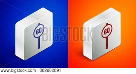 Isometric Line Speed Limit Traffic Sign 60 Km Icon Isolated On Blue And Orange Background. Silver Sq
