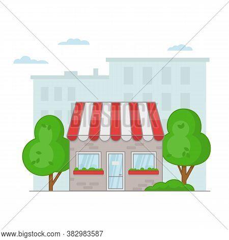 Cartoon Facade Of A Cafe Or Shop On A Cityscape. Vector Illustration.