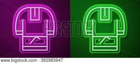 Glowing Neon Line Kosovorotka Is A Traditional Russian Shirt Icon Isolated On Purple And Green Backg