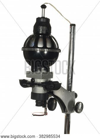 Vintage Enlarger For Printing Black And White Photo Isolated On White Background.