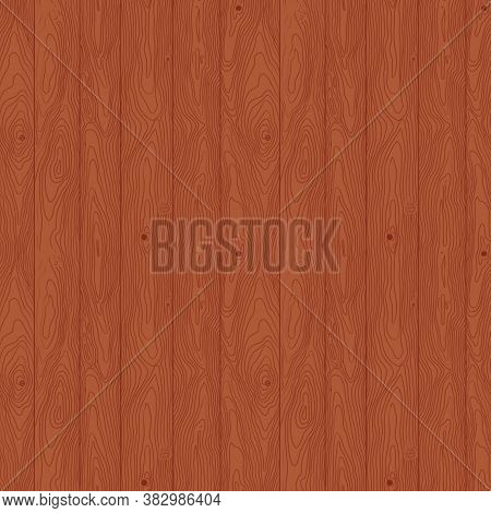 Seamless Pattern Hand-drawn Wooden Plank Texture. Timber Surface Chestnut Brown Color Can Be Used As