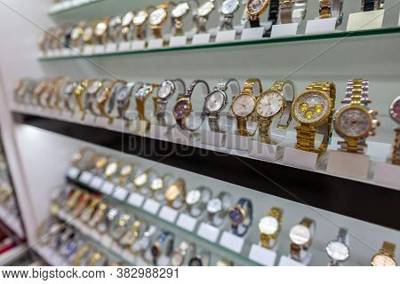 Antalya / Turkey - January 19, 2020: Watches Of Various Brands Stands In A Watch Market Shop