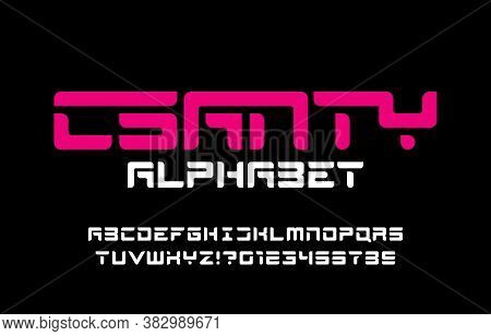 Scanty Alphabet Font. Abstract Stencil Letters And Numbers. Stock Vector Typescript For Your Typogra