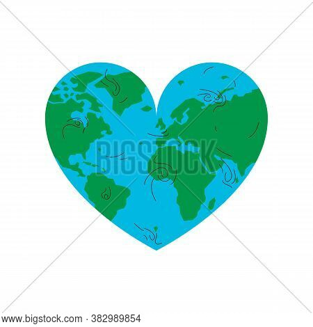 Earth Physical Map In A Shape Of A Heart. Vector Concept Illustration Of A Blue And Green Earth Plan