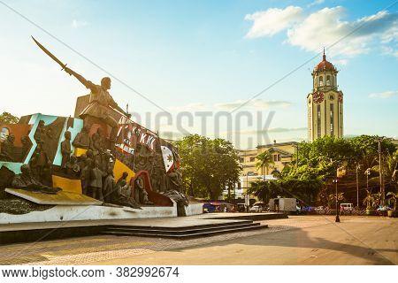 April 6, 2020: Bonifacio And The Katipunan Revolution Monument And Clock Tower Of The Manila City Ha