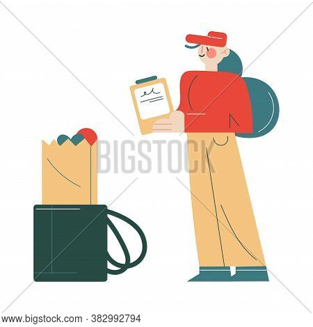 Courier In Working Uniform Delivering Fresh Food And Drinks Order To Client Home Address