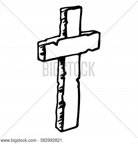 Vintage Shabby Headstones Cross. Hand Drawn Doodle Sketch Black Outline Gloomy Gravestone For Hallow
