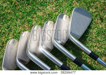 The Golf equipments place on green grass