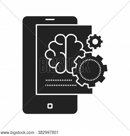 Brainstorming Creative Idea Black Glyph Icon. Creative Idea Sign. Brain And Gears In Smartphone. Pic