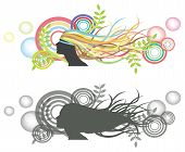 Fluttering hair on woman dummy with bubble backdrop. Silhouette and colorful version. poster