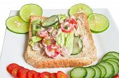 Tuna fish sandwich with tomatoes lettuce and mayonnaise poster