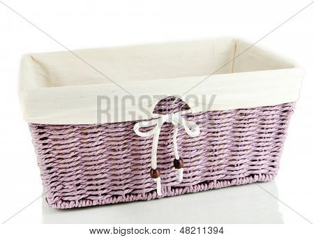 Empty color wicker basket, isolated on white