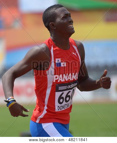 DONETSK, UKRAINE - JULY 12: Arturo Deliser of Panama competes in 200 metres during 8th IAAF World Youth Championships in Donetsk, Ukraine on July 12, 2013