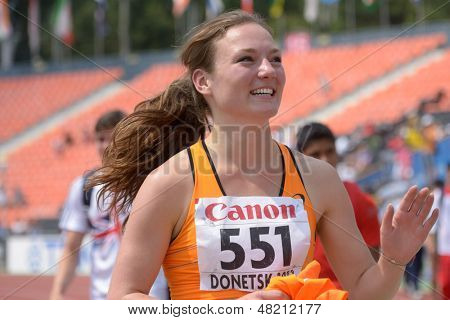 DONETSK, UKRAINE - JULY 12: Inge Drost of Netherlands after high jump competition in Heptathlon during 8th IAAF World Youth Championships in Donetsk, Ukraine on July 12, 2013