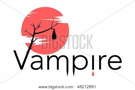 Vector vampire sign with bloody moon, bat, drops of blood, and letters forming fangs shape