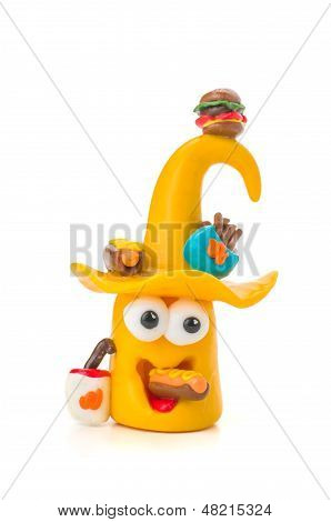 Handmade modeling clay figure with fast food