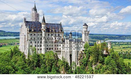 Picturesque landscape with the Neuschwanstein Castle.